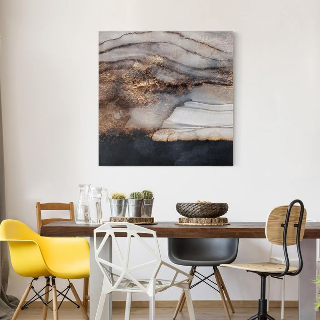 Leinwandbild - Goldener Marmor gemalt - Quadrat 1:1
