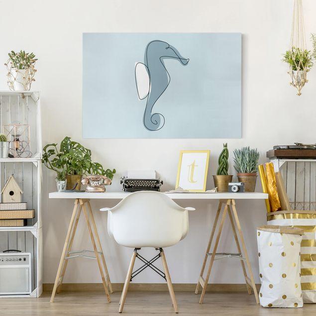 Leinwandbild - Seepferdchen Line Art - Querformat 2:3