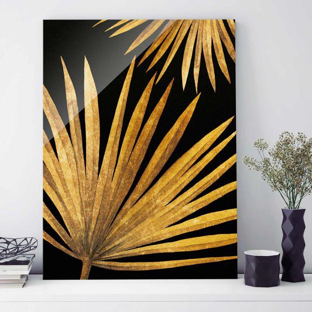 Glasbild - Gold - Palmenblatt auf Schwarz - Hochformat 4:3