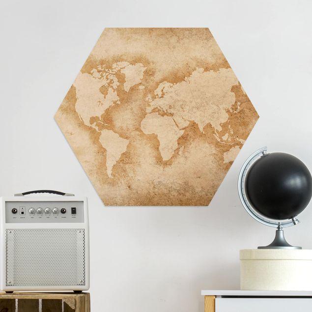 Hexagon Bild Alu-Dibond - Antike Weltkarte