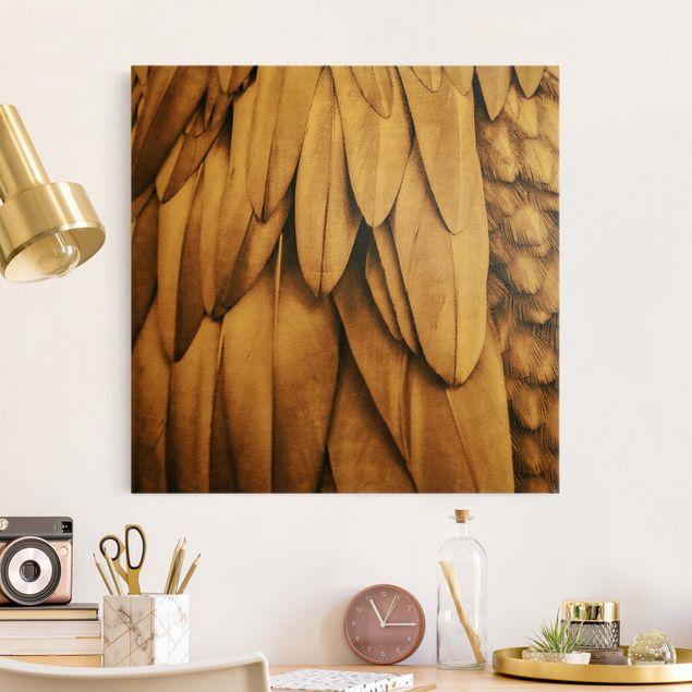 Leinwandbild Gold - Federn in Rosegold - Quadrat 1:1