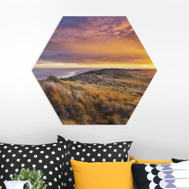 Hexagon Bild Forex - Sonnenaufgang am Strand auf Sylt