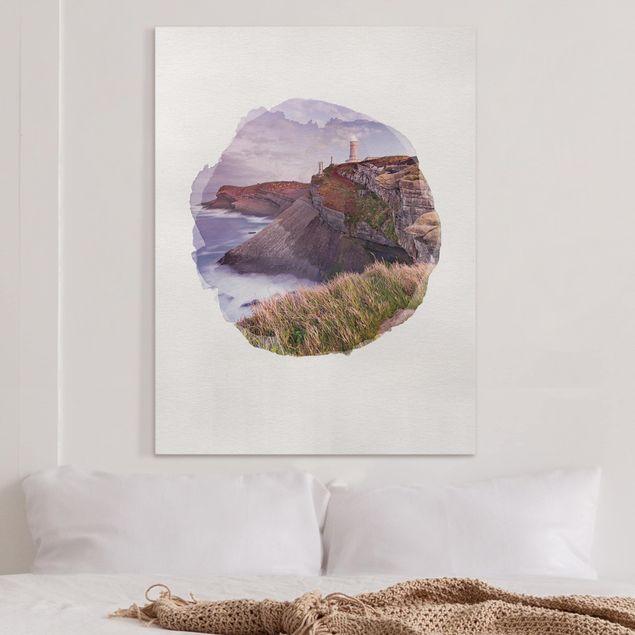 Leinwandbild - Wasserfarben - Steilküste und Leuchtturm - Hochformat 4:3