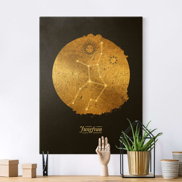 Leinwandbild Gold - Sternzeichen Jungfrau Grau Gold - Hochformat 3:4