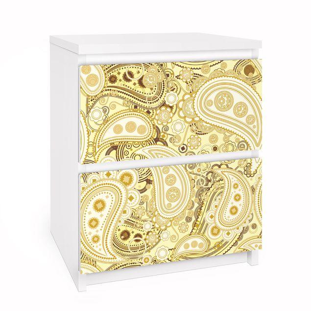 Möbelfolie für IKEA Malm Kommode - Selbstklebefolie Retro Paisley