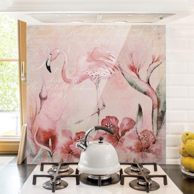 Glas Spritzschutz - Shabby Chic Collage - Flamingo - Quadrat - 1:1