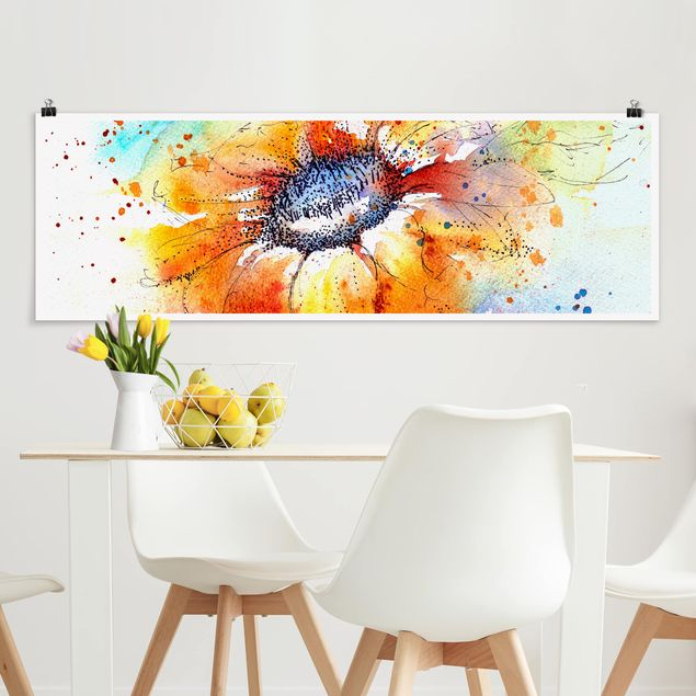 Poster - Painted Sunflower - Panorama Querformat