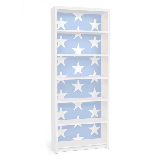 Möbelfolie für IKEA Billy Regal - Klebefolie Weiße Sterne auf Blau