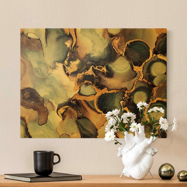 Leinwandbild Gold - Marmor Aquarell mit Gold - Querformat 4:3