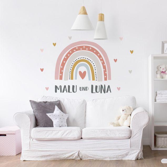 Wandtattoo mit Wunschtext - Regenbogen mit Wunschnamen Rosa