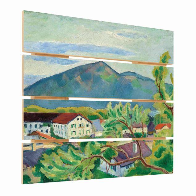 Holzbild - August Macke - Frühlingslandschaft in Tegernsee - Quadrat 1:1