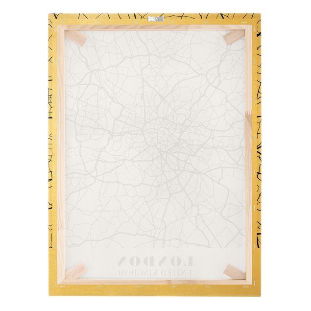 Leinwandbild Gold - Stadtplan London - Klassik - Hochformat 3:4