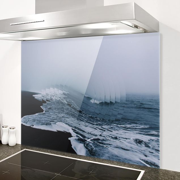 Glas Spritzschutz - Geometrie trifft Welle - Querformat - 4:3
