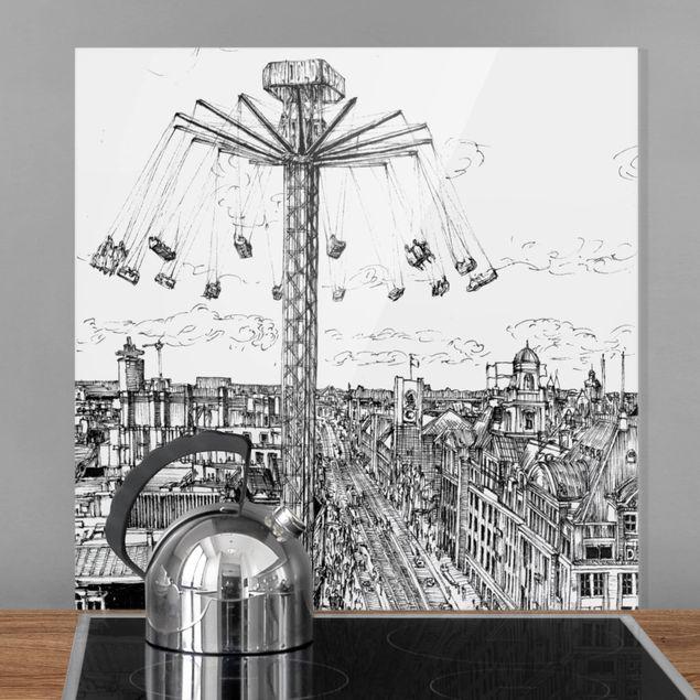 Glas Spritzschutz - Stadtstudie - Kettenkarussell - Quadrat - 1:1
