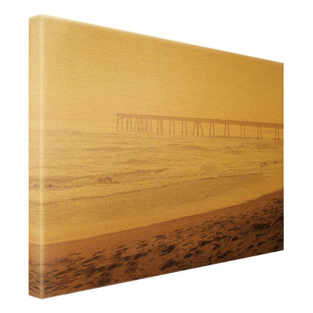 Leinwandbild Gold - Kalifornien Halbmond Küste - Querformat 4:3