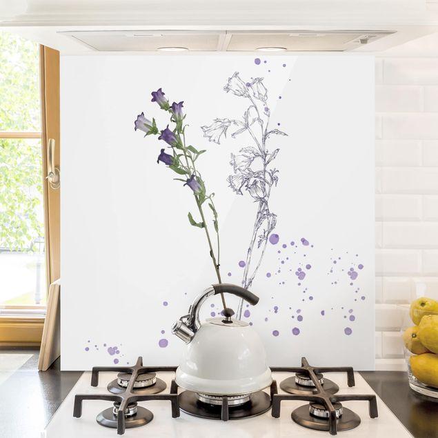 Glas Spritzschutz - Botanisches Aquarell - Glockenblume - Quadrat - 1:1