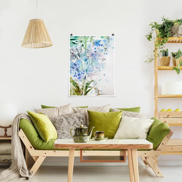 Poster - Aquarell Blumen Lilien - Hochformat 3:4