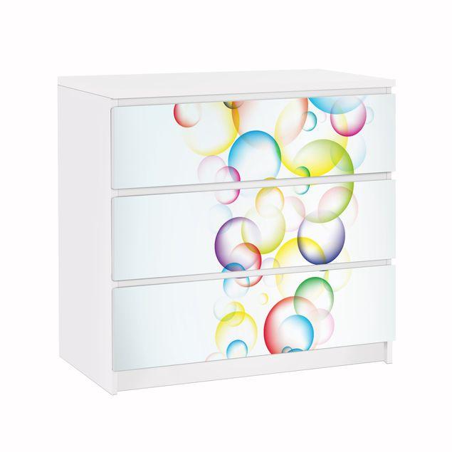 Möbelfolie für IKEA Malm Kommode - Klebefolie Rainbow Bubbles