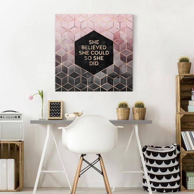 Leinwandbild - She Believed She Could Rosé Gold - Quadrat 1:1
