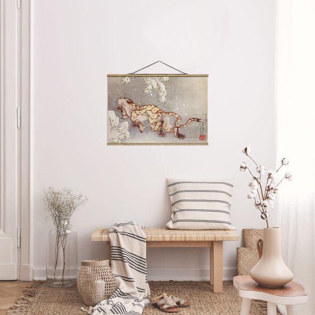 Stoffbild mit Posterleisten - Katsushika Hokusai - Tiger in Schneesturm - Querformat 3:2