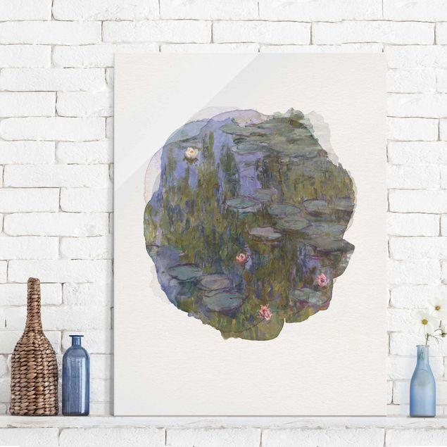 Glasbild - Wasserfarben - Claude Monet - Seerosen (Nympheas) - Hochformat 4:3