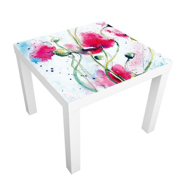 Möbelfolie für IKEA Lack - Klebefolie Painted Poppies