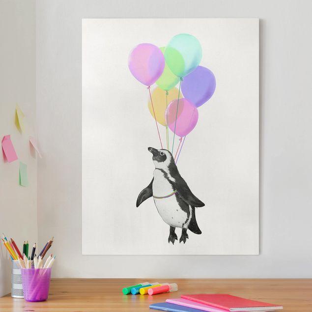 Leinwandbild - Illustration Pinguin Pastell Luftballons - Hochformat 4:3