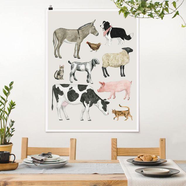 Poster - Bauernhof Tierfamilie II - Hochformat 3:4
