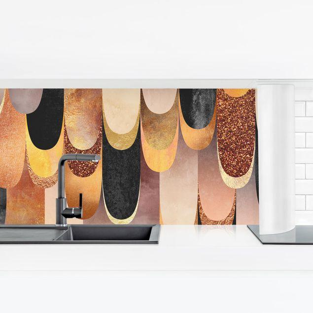 Küchenrückwand - Federn Bronze Schwarz