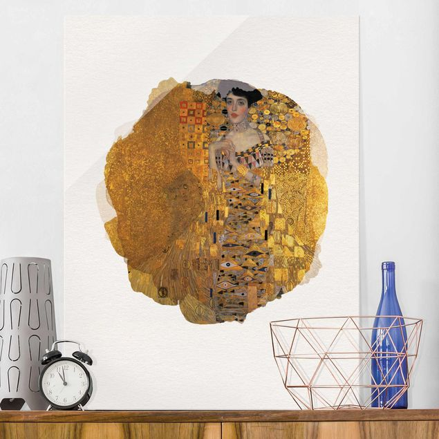 Glasbild - Wasserfarben - Gustav Klimt - Adele Bloch-Bauer I - Hochformat 4:3