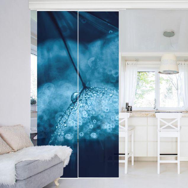 Schiebegardinen Set - Blaue Pusteblume im Regen - Flächenvorhang