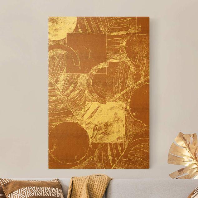Leinwandbild Gold - Formen und Blätter Kupfer II - Hochformat 2:3
