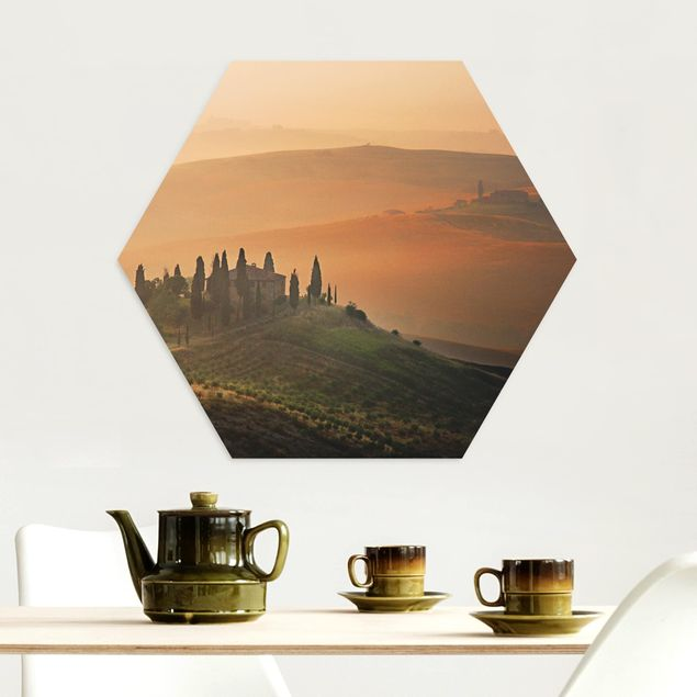 Hexagon Bild Alu-Dibond - Dreams of Tuscany