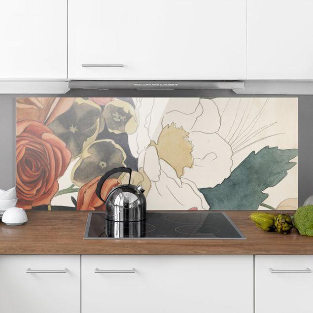 Spritzschutz Glas - Zeichnung Blumenbouquet in Rot und Sepia II - Panorama