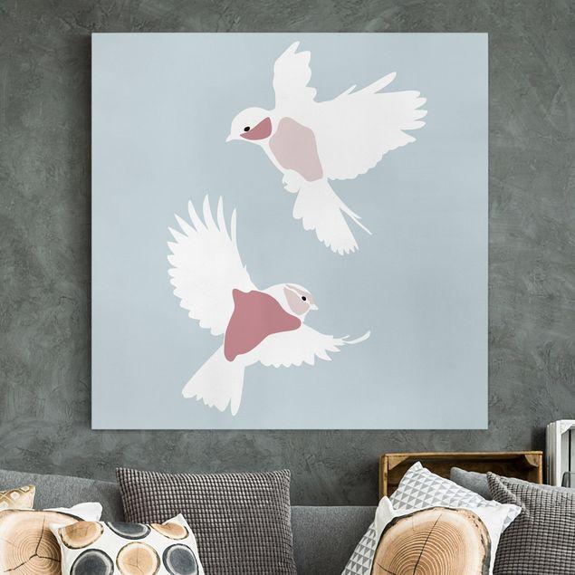Leinwandbild - Line Art Tauben Pastell - Quadrat 1:1