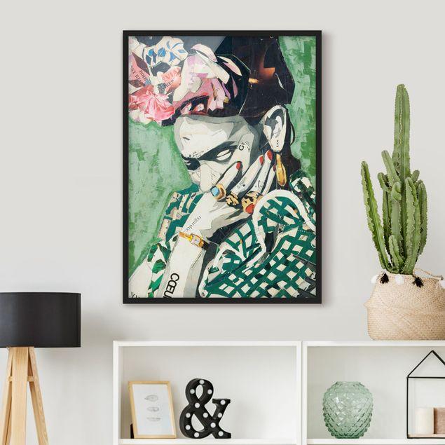Bild mit Rahmen - Frida Kahlo - Collage No.3 - Hochformat 3:4