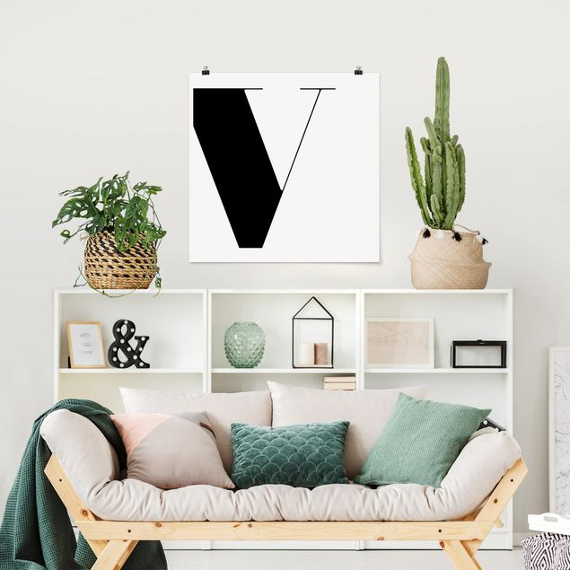 Poster - Antiqua Letter V - Quadrat 1:1