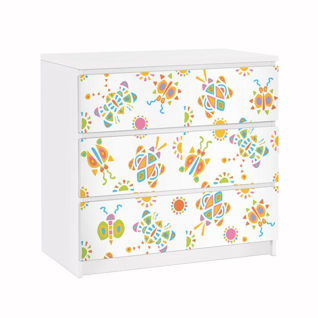 Möbelfolie für IKEA Malm Kommode - Klebefolie Schmetterling Illustrationen