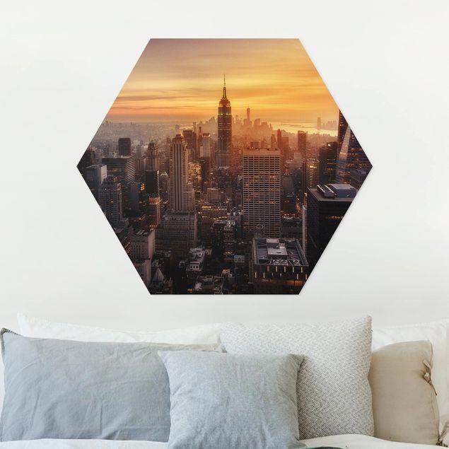 Hexagon Bild Forex - Manhattan Skyline Abendstimmung