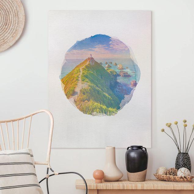 Leinwandbild - Wasserfarben - Nugget Point Leuchtturm und Meer Neuseeland - Hochformat 4:3