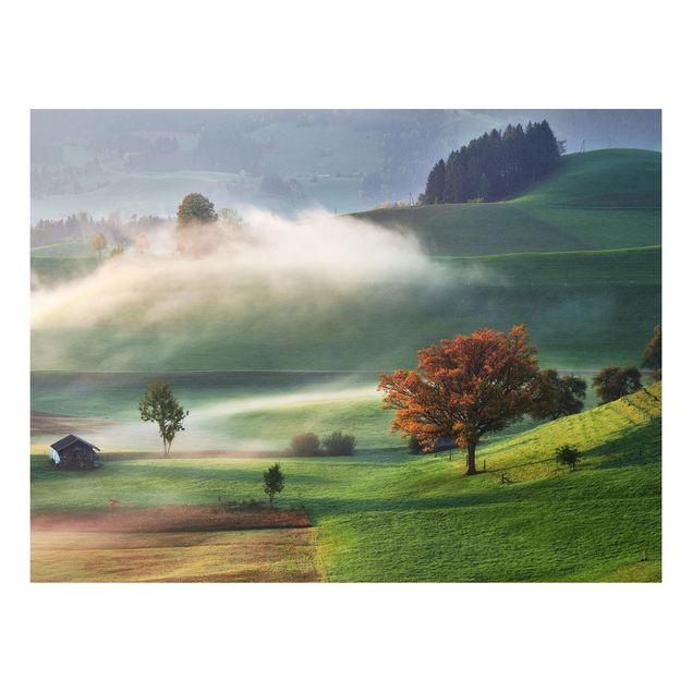 Forex Fine Art Print - Nebliger Herbsttag Schweiz - Querformat 3:4