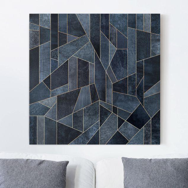 Leinwandbild - Blaue Geometrie Aquarell - Quadrat 1:1
