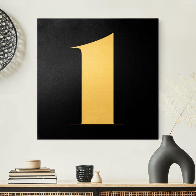 Leinwandbild Gold - Antiqua Zahl 1 - Quadrat 1:1