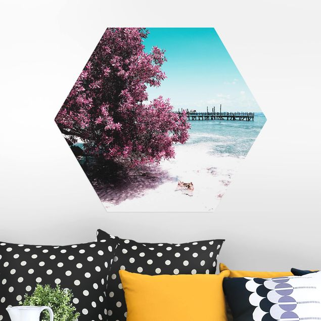 Hexagon Bild Alu-Dibond - Paradies Strand Isla Mujeres