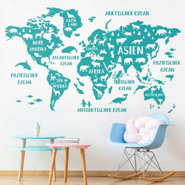 Wandtattoo - XXL Weltkarte mit Tieren