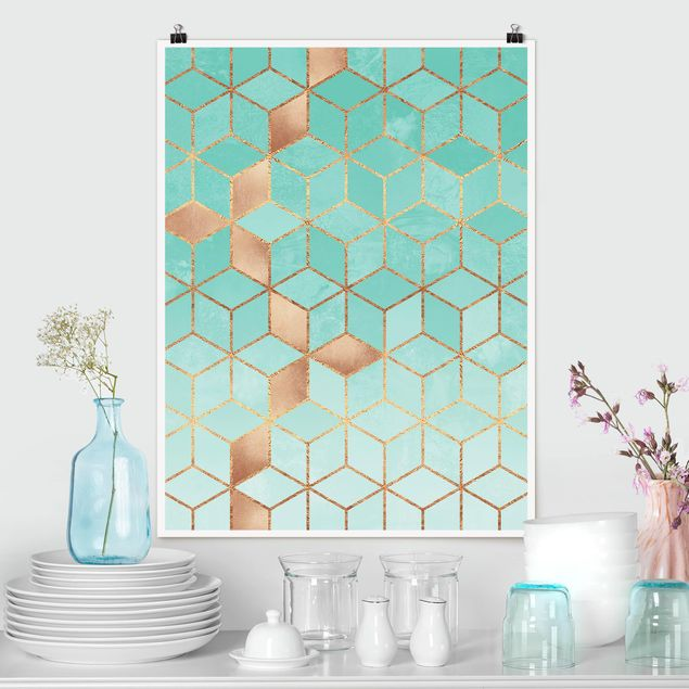 Poster - Türkis Weiß goldene Geometrie - Hochformat 4:3