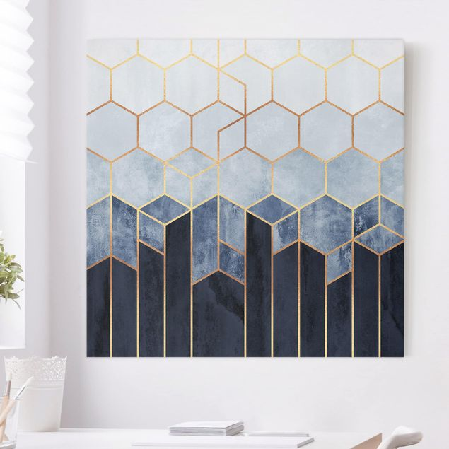 Leinwandbild - Goldene Sechsecke Blau Weiß - Quadrat 1:1