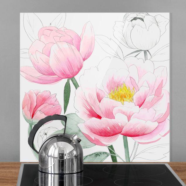 Spritzschutz Glas - Zeichnung Rosa Päonien I - Quadrat 1:1
