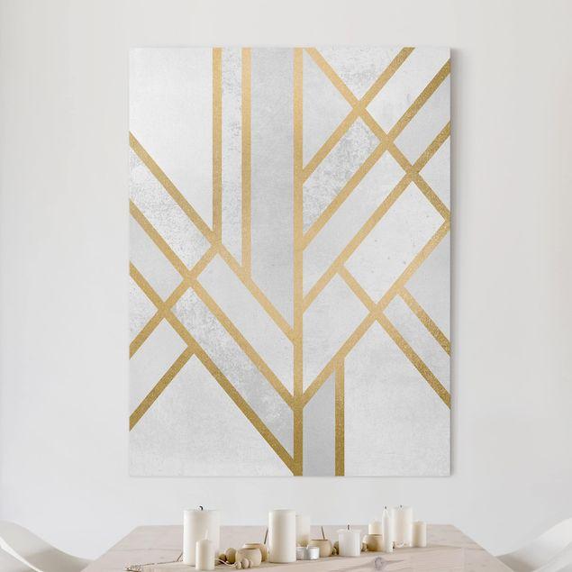 Leinwandbild - Art Deco Geometrie Weiß Gold - Hochformat 4:3