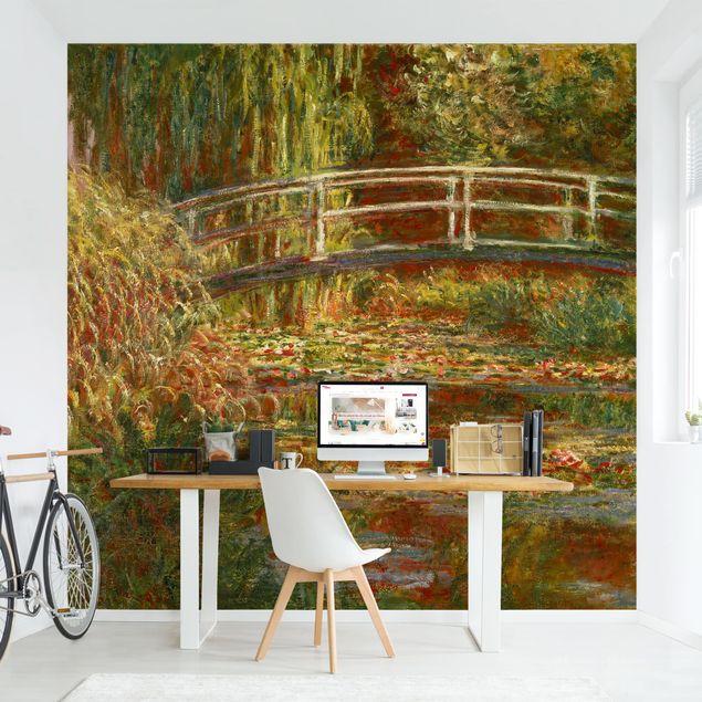 Fototapete - Claude Monet - Seerosenteich und japanische Brücke (Harmonie in rosa)